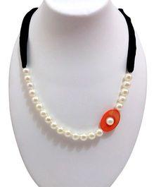 SYN Kidz Designer Pearl With Ribbon Neckpiece - White & Black