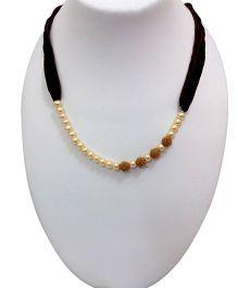 SYN Kidz Designer Pearl & Rudrakash Neckpiece - White & Brown