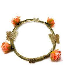 Carolz Jewelry Flower & Butterfly Tiara - Peach