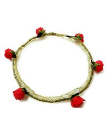 Carolz Jewelry Foam Roses With Golden Ribbon Tiara - Coral