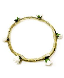 Carolz Jewelry Foam Roses Tiara with Golden Ribbon - Cream
