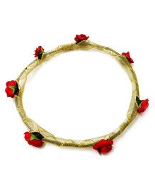 Carolz Jewelry Paper Roses With Golden Ribbon Tiara - Red