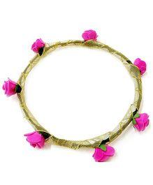 Carolz Jewelry Foam Roses With Golden Ribbon Tiara - Majenta