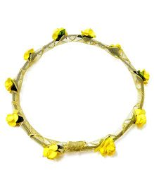 Carolz Jewelry Paper Roses With Golden Ribbon Tiara - Yellow
