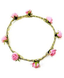 Carolz Jewelry Foam Roses With Golden Ribbon Tiara - Pink