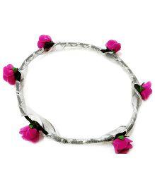 Carolz Jewelry Foam Roses With Silver Ribbon Tiara - Majenta