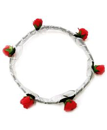 Carolz Jewelry Foam Roses With Silver Ribbon Tiara - Coral