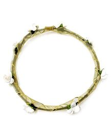 Carolz Jewelry Paper Roses With Golden Ribbon Tiara - white