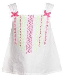 Miyo Cotton Singlet Style Top With Embroidery - White