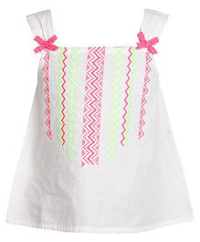 Miyo Cotton Singlet Style Top With Embroidery - White