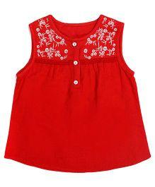 Miyo Cotton Embroidered Sleeveless Top - Red