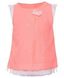 Miyo Cap Sleeves Polyester & Cotton Top With Dot Print - Peach