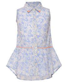 Miyo Sleeveless Printed Collar Neck Cotton Top - Blue