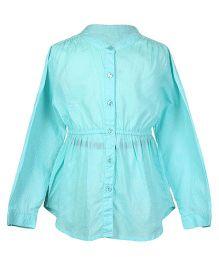 Miyo Full Sleeves Printed Cotton Top - Turquoise Blue
