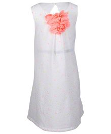 Miyo Sleeveless Polyester Dress With Floral Applique - Off White