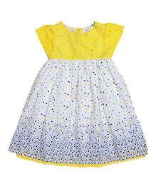 Miyo Cap Sleeveless Printed Polyester Frock - Yellow & White