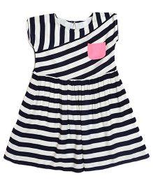 Miyo Sleeveless Viscose Frock With Stripes - Blue & White