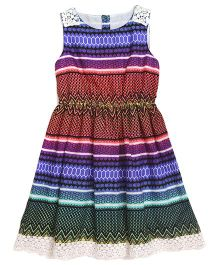 Miyo Sleeveless Polyester Frock With Lace Hem - Multi Color