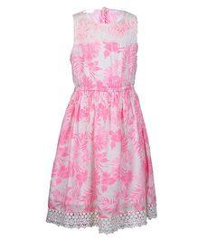 Miyo Sleeveless Cotton Frock With Floral Print - Pink & White