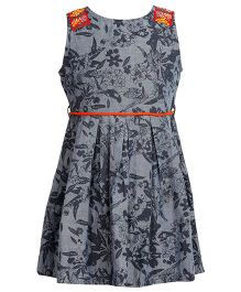 Miyo Sleeveless Floral Printed Cotton Frock - Grey