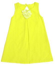 Miyo Sleeveless Linen Frock With Floral Applique - Neon Green