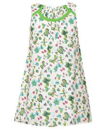 Miyo Sleeveless Printed Cotton Frock - White & Green