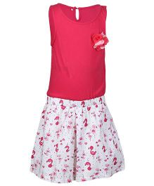 Miyo Sleeveless Frock With Floral Applique - Pink & White