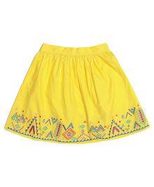 Miyo Solid Color Skirt With Designer Hem Line - Yellow