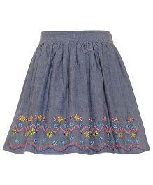 Miyo Solid Color Skirt With Designer Hem Line - Grey & Blue