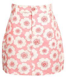 Miyo Floral Printed Cotton Skirt With Designer Pockets - Pink