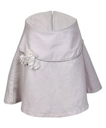 Miyo Cotton And Linen Skirt With Floral Applique - Silver