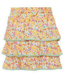 Miyo Layered Skirt Floral Print - Yellow