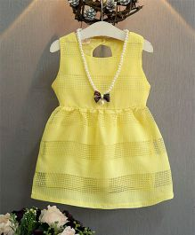 LivFuture Stylist Cotton Dress With Pearl - Yellow