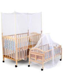 Mee Mee Wooden Baby Cot & Cradle With Wheels MM 629B - Brown