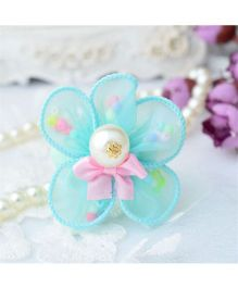 Angel Closet Flower Hair Clip With Pearls - Turquoise