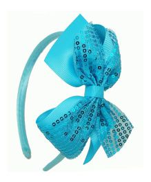 Angel Closet Sequinned Hair Band With Bow - Blue