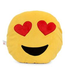 Dimpy Stuff Emoji Cushion Heart Print - Yellow