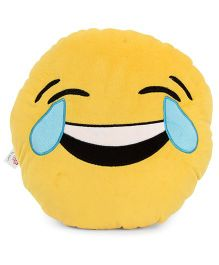 Dimpy Stuff Emoji Cushion Smile Print - Yellow