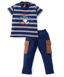Valentine Half Sleeves Night Suit Stripes And Anchor Print - Navy Blue