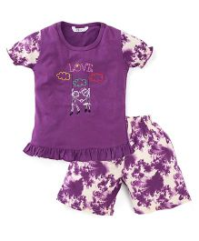 Valentine Half Sleeves Night Suit Embroidered Detail - Purple