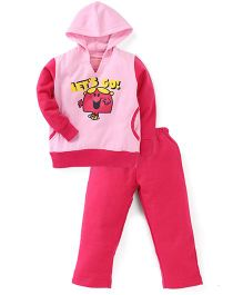 Valentine Full Sleeves Hooded T-Shirt And Pant Set - Pink