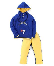 Valentine Full Sleeves Hooded T-Shirt And Pant Set Champion Print - Blue And Yellow