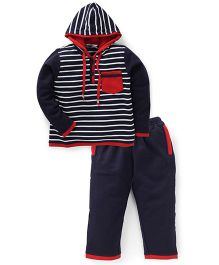 Valentine Hooded Striped Night Suit - Red & Navy Blue