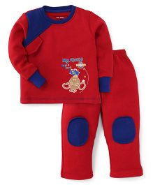 Valentine Full Sleeves T-Shirt And Pajama Mr Tickle Print - Red Blue