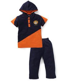 Valentine Half Sleeves Hooded T-Shirt And Pajama Lion Embroidery - Navy Orange