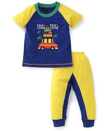 Valentine Half Sleeves Suit Set Taxi Print - Yellow Blue