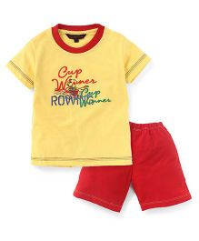 Valentine Half Sleeves T-Shirt And Shorts Winning Cup Print - Yellow Red