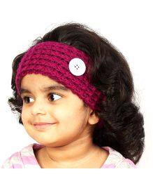 Magic Needles Handknitted Button Hairband - Magenta