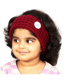 Magic Needles Handknitted Button Hairband - Maroon