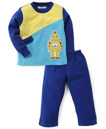 Valentine Full Sleeves Suit Set Robot Print - Blue